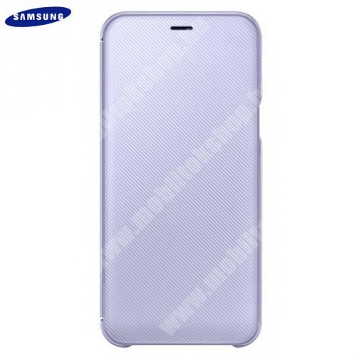 SAMSUNG notesz tok (aktív flip, oldalra nyíló, bankkártya tartó, karbon minta) VIOLA - EF-WJ600CVEGWW - Samsung Galaxy J6 (2018) J600F - GYÁRI