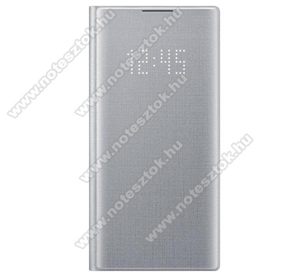 SAMSUNG notesz tok / flip tok (aktív flip, oldalra nyíló, bankkártya tartó, LED kijelző, textil minta) - EZÜST - SAMSUNG SM-N970F Galaxy Note10 / SAMSUNG SM-N971U Galaxy Note10 5G - EF-NN970PSEGWW - GYÁRI