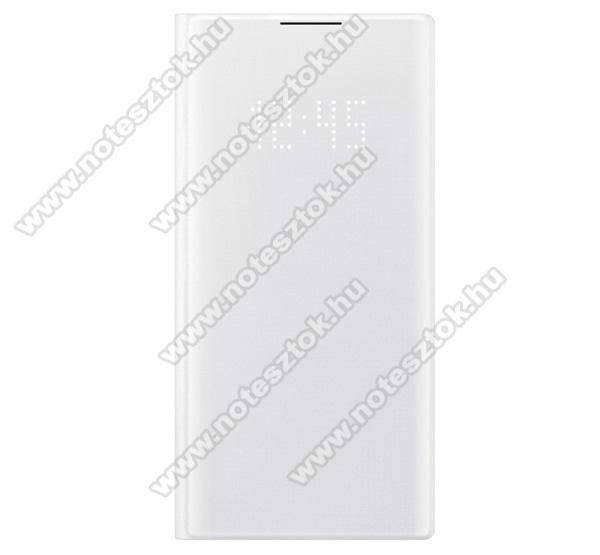 SAMSUNG notesz tok / flip tok (aktív flip, oldalra nyíló, bankkártya tartó, LED kijelző, textil minta) - FEHÉR - SAMSUNG SM-N970F Galaxy Note10 / SAMSUNG SM-N971U Galaxy Note10 5G - EF-NN970PWEGWW - GYÁRI