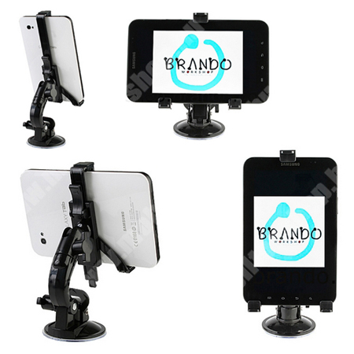 APPLE iPad Mini 4 SAMSUNG P1000 Galaxy Tab gépkocsi / autó tartó - BRANDO - (forgatható tapadókorongos szélvédőtartóval)
