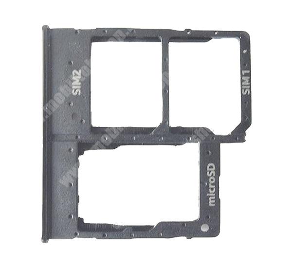 SAMSUNG SIM kártya tartó tálca, nano SIM és microSD - FEKETE - SAMSUNG SM-A202F Galaxy A20e - GH98-44377A - GYÁRI - Csomagolás nélküli