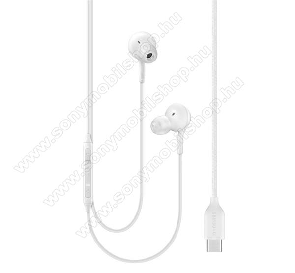 SAMSUNG SZTEREO HEADSET / James bond - Type-C, felvevő gomb, hangerő szabályzó, 2 pár fülgumi, Tuned by AKG - FEHÉR - EO-IC100BWE - GYÁRI