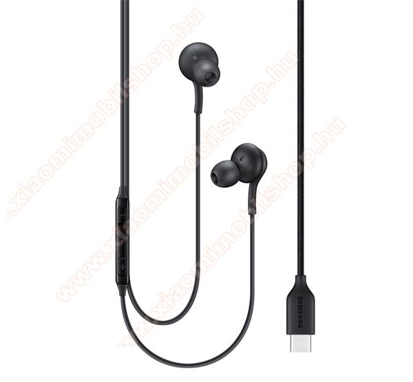 SAMSUNG SZTEREO HEADSET / James bond - Type-C, felvevő gomb, hangerő szabályzó, 2 pár fülgumi, Tuned by AKG - FEKETE - EO-IC100BBE - GYÁRI
