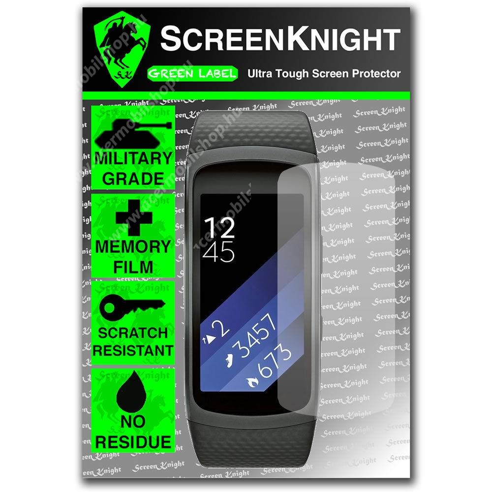 SCREENKNIGHT TPU képernyővédő fólia - Clear - 1db, törlőkendővel - SAMSUNG Gear Fit 2 SM-R360 / Samsung Gear Fit 2 Pro SM-R365