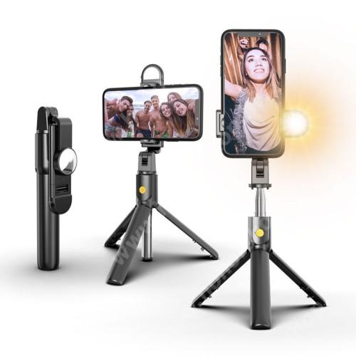 HUAWEI Honor V40 5G SELFIESHOW K10S UNIVERZÁLIS teleszkópos selfie bot és tripod állvány - BLUETOOTH KIOLDÓVAL, szelfi fénnyel, 360 fokban forgatható, 192 x 35 x 50 mm - FEKETE