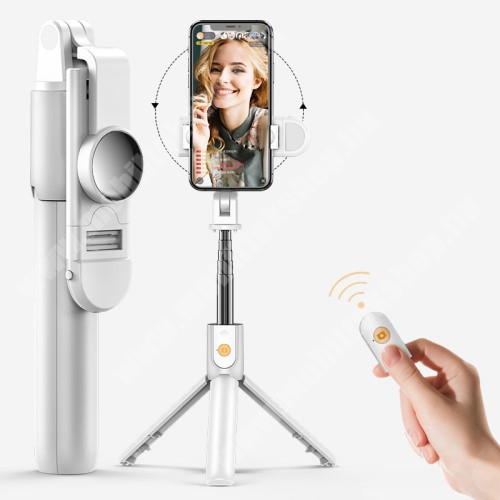 Elephone P3000 SELFIESHOW K10S UNIVERZÁLIS teleszkópos selfie bot és tripod állvány - BLUETOOTH KIOLDÓVAL, szelfi fénnyel, 360 fokban forgatható, 192 x 35 x 50 mm - FEHÉR