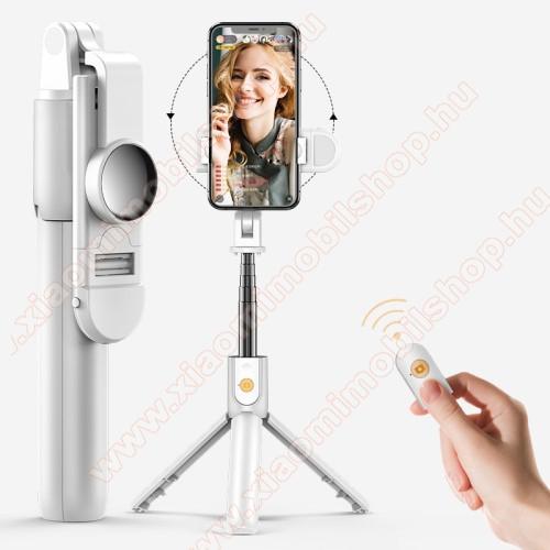 SELFIESHOW K10S UNIVERZÁLIS teleszkópos selfie bot és tripod állvány - BLUETOOTH KIOLDÓVAL, szelfi fénnyel, 360 fokban forgatható, 192 x 35 x 50 mm - FEHÉR