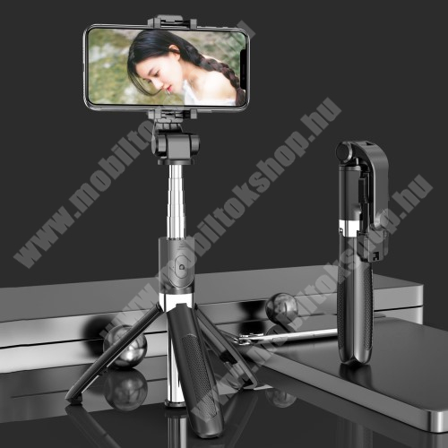 PHILIPS W3568 SELFIESHOW UNIVERZÁLIS teleszkópos selfie bot és tripod állvány - BLUETOOTH KIOLDÓVAL, 360 fokban forgatható, max 70cm hosszú nyél - FEKETE