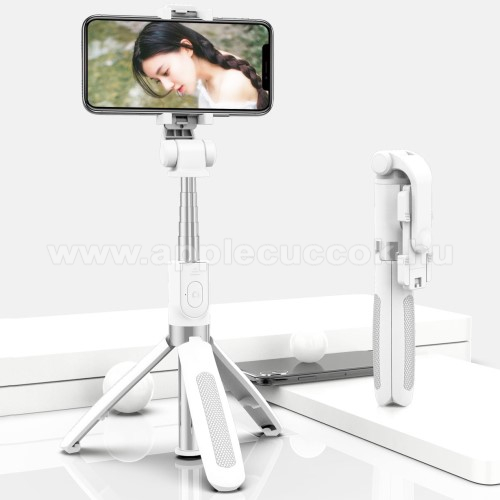 SELFIESHOW UNIVERZÁLIS teleszkópos selfie bot és tripod állvány - BLUETOOTH KIOLDÓVAL, 360 fokban forgatható, max 70cm hosszú nyél - FEHÉR