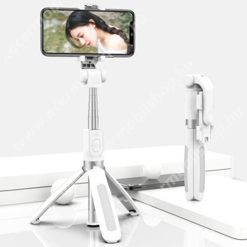 ACER Iconia Tab A1-811 SELFIESHOW UNIVERZÁLIS teleszkópos selfie bot és tripod állvány - BLUETOOTH KIOLDÓVAL, 360 fokban forgatható, max 70cm hosszú nyél - FEHÉR