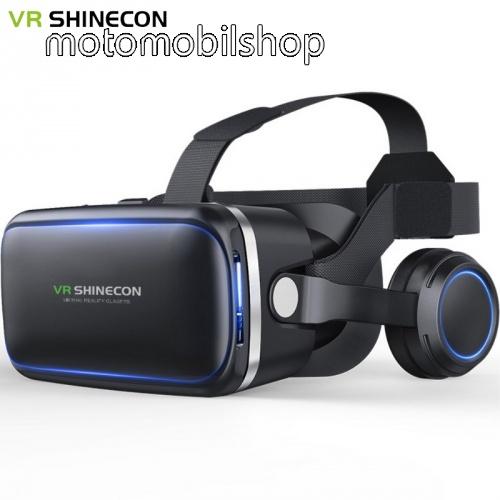 """SHINECON 6.gen. videoszemüveg - VR 3D, filmnézéshez ideális, 4-6"""" kijelzőhöz, fejhallgató - FEKETE"""
