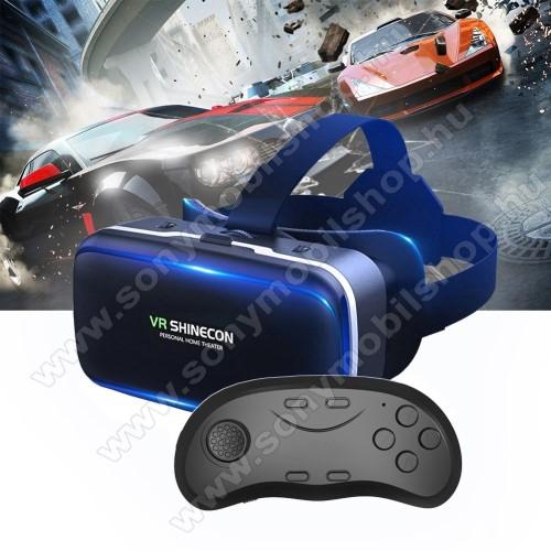 SHINECON G04 videoszemüveg - VR 3D, filmnézéshez ideális, kékfény szűrő, D01 Bluetooth kontrollerrel, 185x136x100mm, CSAK GIROSZKÓPPAL ELLÁTOTT OKOSTELEFONOKKAL MŰKÖDIK - FEKETE