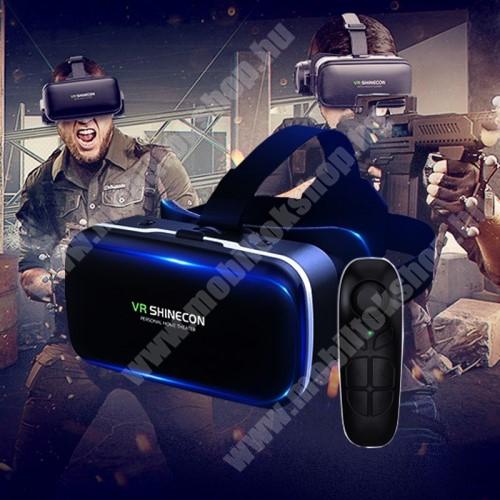 HTC Desire 12s SHINECON G04 videoszemüveg - VR 3D, filmnézéshez ideális, kékfény szűrő, Bluetooth kontrollerrel, 185x136x100mm, CSAK GIROSZKÓPPAL ELLÁTOTT OKOSTELEFONOKKAL MŰKÖDIK - FEKETE