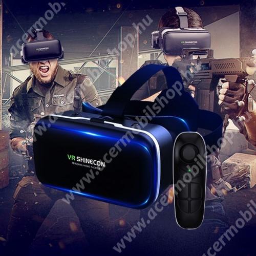SHINECON G04 videoszemüveg - VR 3D, filmnézéshez ideális, kékfény szűrő, Bluetooth kontrollerrel, 185x136x100mm, CSAK GIROSZKÓPPAL ELLÁTOTT OKOSTELEFONOKKAL MŰKÖDIK - FEKETE
