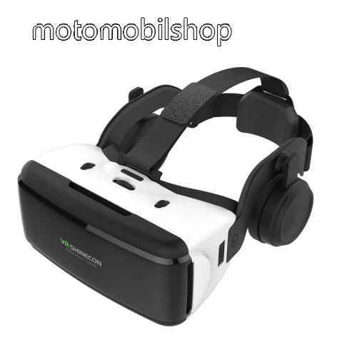 """SHINECON videoszemüveg - VR 3D, filmnézéshez ideális, 4-6"""" kijelzőhöz, fejhallgató - FEKETE / FEHÉR"""