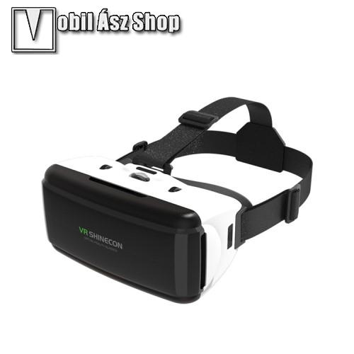 HUAWEI P9SHINECON videoszemüveg - VR 3D, filmnézéshez ideális, 200mm x 90mm telefon befogadó keret, CSAK GIROSZKÓPPAL ELLÁTOTT OKOSTELEFONOKKAL MŰKÖDIK - FEKETE / FEHÉR