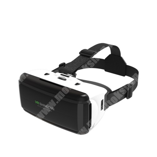ZTE Blade A520 SHINECON videoszemüveg - VR 3D, filmnézéshez ideális, 200mm x 90mm telefon befogadó keret, CSAK GIROSZKÓPPAL ELLÁTOTT OKOSTELEFONOKKAL MŰKÖDIK - FEKETE / FEHÉR