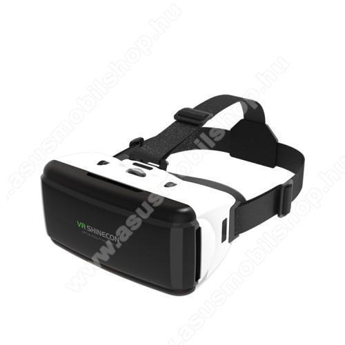ASUS Zenfone Go (ZB552KL)SHINECON videoszemüveg - VR 3D, filmnézéshez ideális, 200mm x 90mm telefon befogadó keret, CSAK GIROSZKÓPPAL ELLÁTOTT OKOSTELEFONOKKAL MŰKÖDIK - FEKETE / FEHÉR
