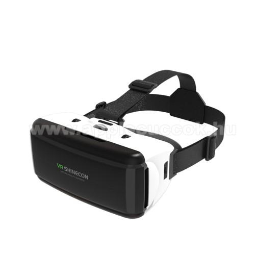 APPLE iPhone 3GSHINECON videoszemüveg - VR 3D, filmnézéshez ideális, 200mm x 90mm telefon befogadó keret, CSAK GIROSZKÓPPAL ELLÁTOTT OKOSTELEFONOKKAL MŰKÖDIK - FEKETE / FEHÉR