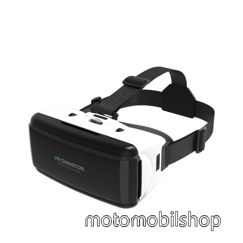 MOTOROLA MPX100 SHINECON videoszemüveg - VR 3D, filmnézéshez ideális, 200mm x 90mm telefon befogadó keret, CSAK GIROSZKÓPPAL ELLÁTOTT OKOSTELEFONOKKAL MŰKÖDIK - FEKETE / FEHÉR