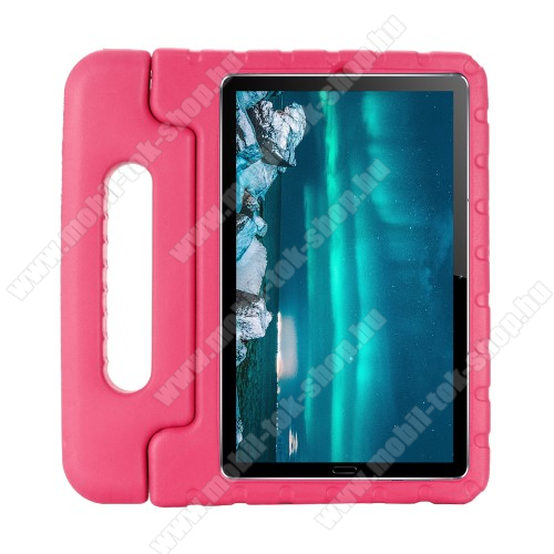 Shockproof EVA habszivacs védő tok / hátlap - MAGENTA - hordozható, asztali tartó funkciós, ERŐS VÉDELEM! - Huawei MediaPad M6 8.4
