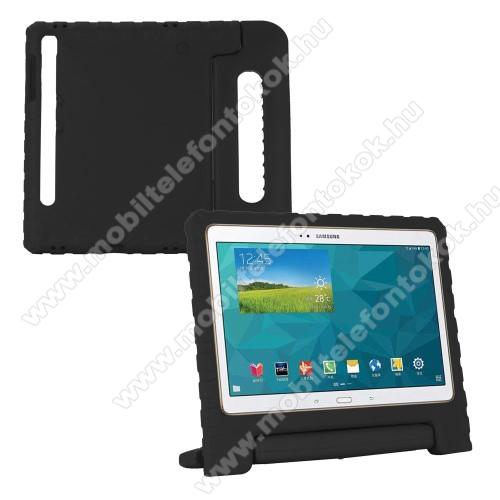 Shockproof EVA habszivacs védő tok / hátlap - FEKETE - hordozható, asztali tartó funkciós, ERŐS VÉDELEM! - SAMSUNG SM-T860 Galaxy Tab S6 (Wi-Fi) / SAMSUNG SM-T865 Galaxy Tab S6 (LTE)