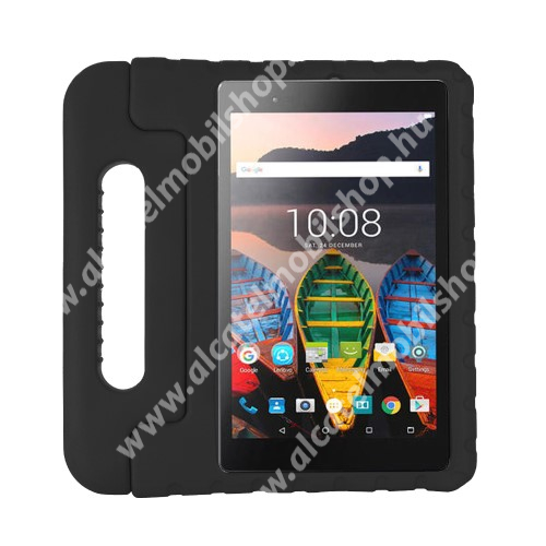 Shockproof EVA habszivacs védő tok / hátlap - FEKETE - hordozható, asztali tartó funkciós, ERŐS VÉDELEM! - SAMSUNG SM-T307U Galaxy Tab A 8.4 (2020)