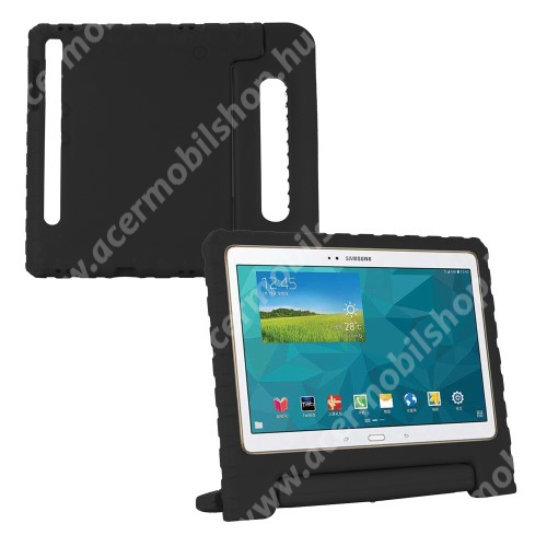 Shockproof műanyag védő tok / hátlap - FEKETE - hordozható, asztali tartó funkciós, ERŐS VÉDELEM! - SAMSUNG SM-T860 Galaxy Tab S6 (Wi-Fi) / SAMSUNG SM-T865 Galaxy Tab S6 (LTE)