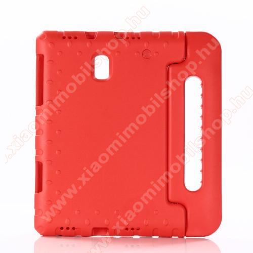 Shockproof műanyag védő tok / hátlap - PIROS - hordozható, asztali tartó funkciós, ERŐS VÉDELEM! - SAMSUNG SM-T590 Galaxy Tab A 10.5 Wi-Fi / SAMSUNG SM-T595 Galaxy Tab A 10.5 LTE