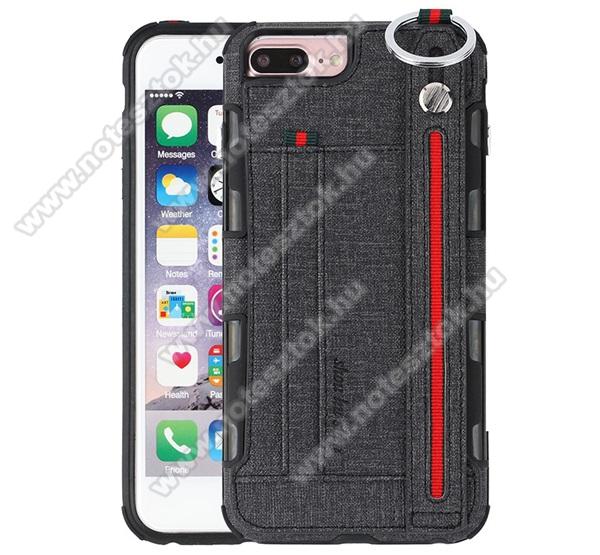 SHOUHUSHEN műanyag védő tok / hátlap - FEKETE - szilikon betétes, szövettel bevont hátlap, bankkártya tartó, kézpánt, erősített sarkok, ERŐS VÉDELEM! - APPLE iPhone 6 Plus / iPhone 6s Plus / iPhone 7 Plus / iPhone 8 Plus
