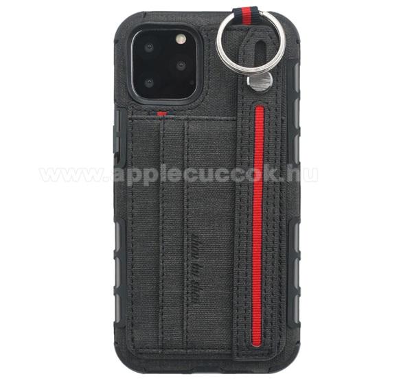 SHOUHUSHEN műanyag védő tok / hátlap - FEKETE - szilikon betétes, szövettel bevont hátlap, bankkártya tartó, kézpánt, erősített sarkok, ERŐS VÉDELEM! - APPLE iPhone 11 Pro
