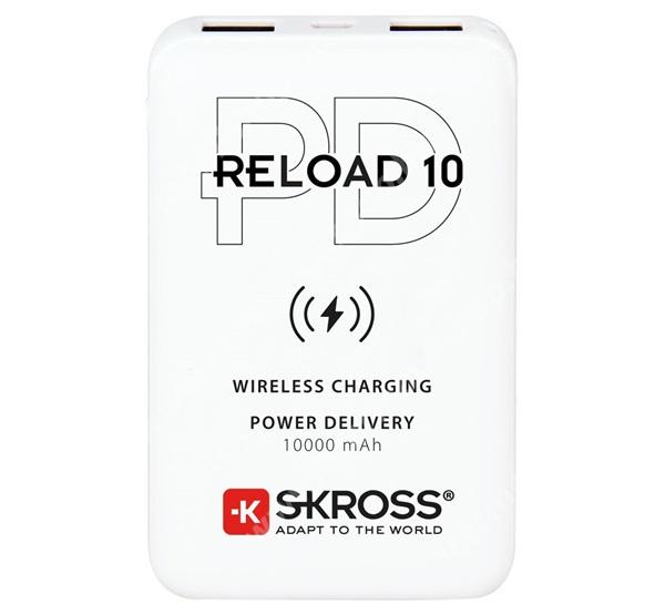 ACER Liquid Z3 SKROSS RELOAD 10 QI hordozható vésztöltő / Powerbank / QI Wireless hálózati töltő állomás - belső 10000mAh akku, 2x USB + 1x Type-C aljzattal, 10W, 5V / 2400mA, PD gyorstöltés támogatás + microUSB kábel, fogadóegység nélkül! - FEHÉR - 1.400132 - GYÁRI