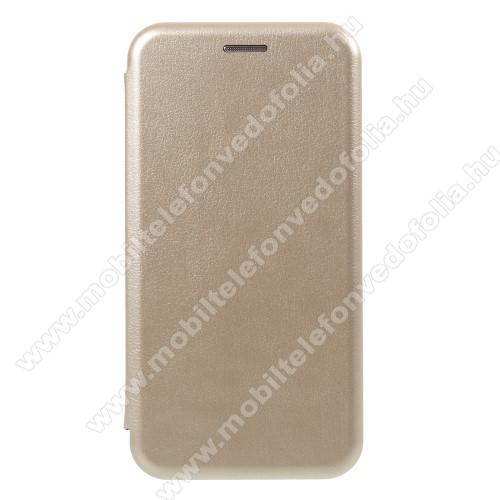SLIM DESIGN notesz / flip tok - ARANY - oldalra nyíló flip cover, asztali tartó funkció, szilikon belső - APPLE iPhone X / APPLE iPhone XS