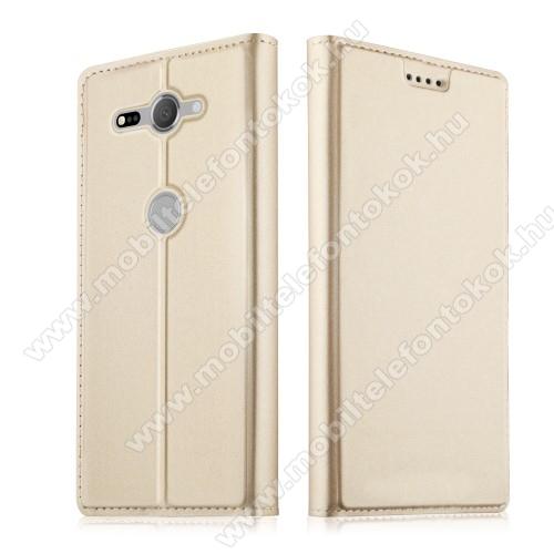 SLIM DESIGN notesz / mappa tok - ARANY - oldalra nyíló flip cover, asztali tartó funkció, szilikon belső, mágneses záródás - Sony Xperia XZ2 Compact