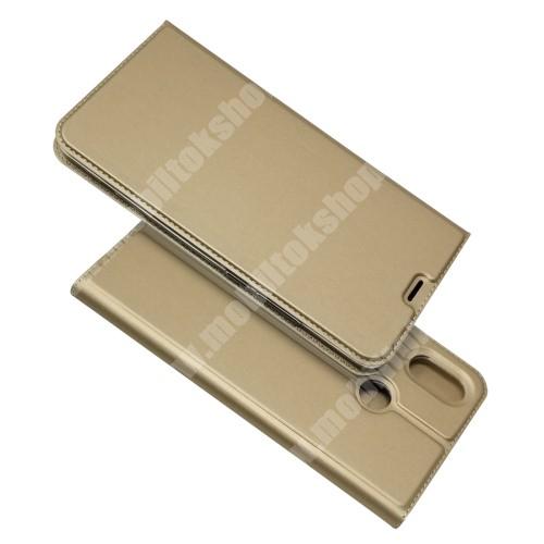 SLIM DESIGN notesz tok / flip tok - ARANY - asztali tartó funkciós, oldalra nyíló, rejtett mágneses záródás, bankkártyatartó zseb, szilikon belső - Xiaomi Mi Max 3