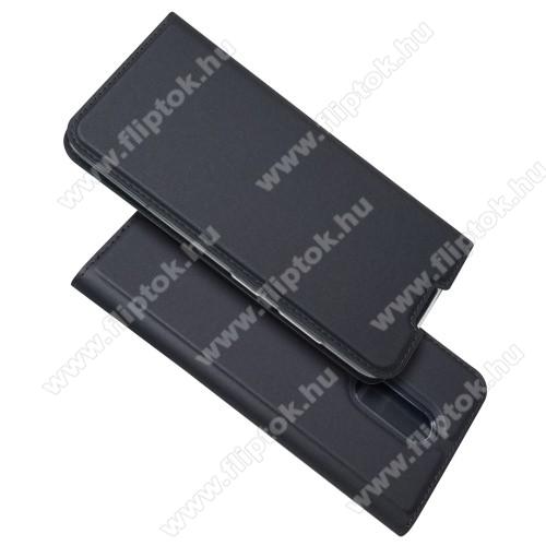 SLIM DESIGN notesz tok / flip tok - FEKETE - asztali tartó funkciós, oldalra nyíló, rejtett mágneses záródás, bankkártyatartó zseb, szilikon belső - NOKIA 3.2
