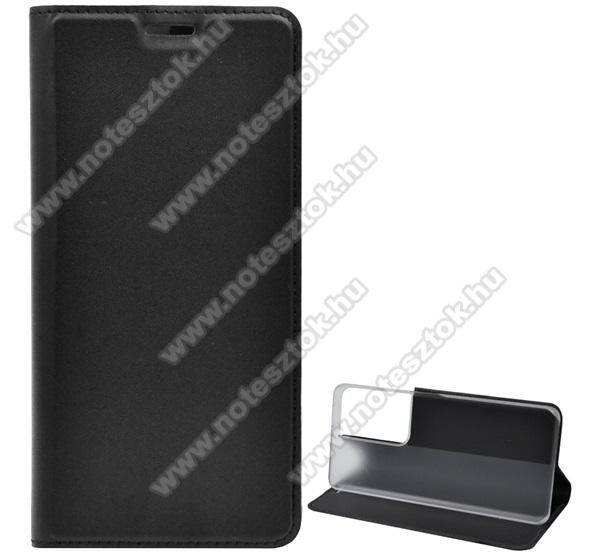 SLIM DESIGN notesz tok / flip tok - FEKETE - asztali tartó funkciós, oldalra nyíló, bankkártyatartó zseb - SAMSUNG Galaxy S21 Ultra 5G (SM-G998B/SM-G998B/DS)