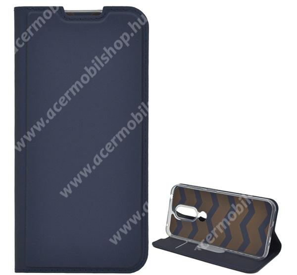 SLIM DESIGN notesz tok / flip tok - SÖTÉTKÉK - asztali tartó funkciós, oldalra nyíló, rejtett mágneses záródás, bankkártyatartó zseb, szilikon belső - NOKIA 4.2