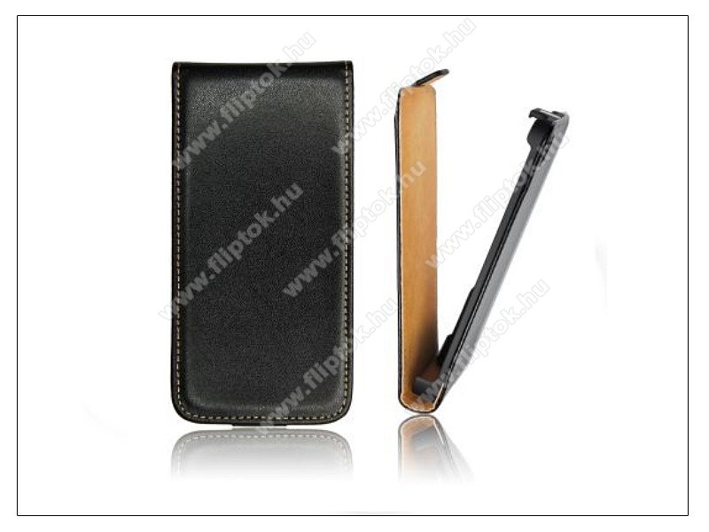Slim Flip bőrtok - Samsung i8150 Galaxy W - fekete