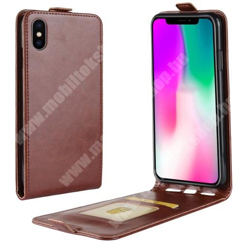 SLIM FLIP tok - BARNA - lefelé nyíló, rejtett mágneses záródás, szilikon belső, bankkártya tartó, előlapi hangszóró nyílás - APPLE iPhone Xr
