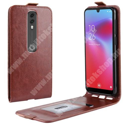 SLIM FLIP tok - BARNA - lefelé nyíló, rejtett mágneses záródás, szilikon belső, bankkártya tartó, előlapi hangszóró nyílás - Vodafone Smart V10