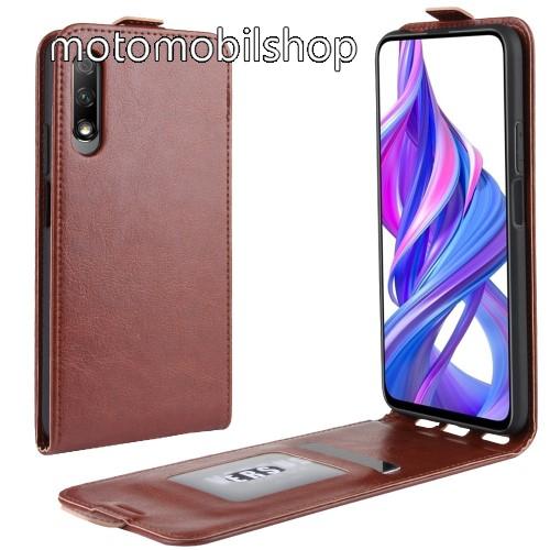 SLIM FLIP tok - BARNA - lefelé nyíló, rejtett mágneses záródás, szilikon belső, bankkártya tartó, előlapi hangszóró nyílás - HUAWEI P smart Pro (2019) / HUAWEI Y9s / Honor 9X (For China market) / Honor 9X Pro (For China)
