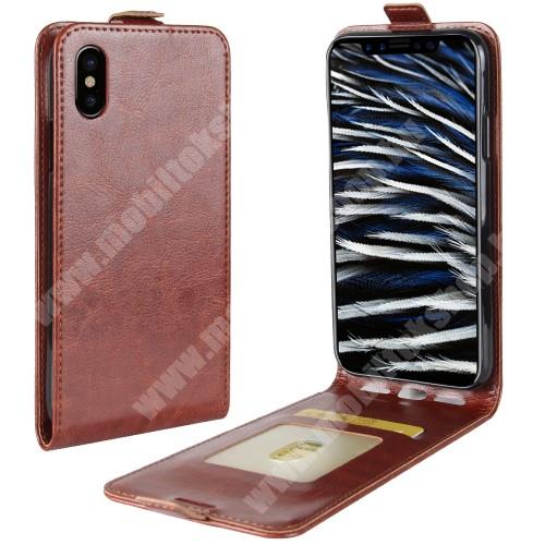 SLIM FLIP tok - BARNA - lefelé nyíló, rejtett mágneses záródás, bankkártya tartó zseb, szilikon belső - APPLE iPhone X