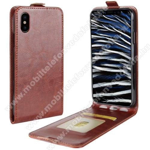 SLIM FLIP tok - BARNA - lefelé nyíló, rejtett mágneses záródás, bankkártya tartó zseb, szilikon belső - APPLE iPhone X / APPLE iPhone XS