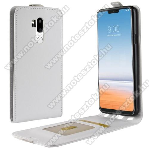 SLIM FLIP tok - FEHÉR - lefelé nyíló, rejtett mágneses záródás, szilikon belső, bankkártya tartó, előlapi hangszóró nyílás - LG G7 ThinQ