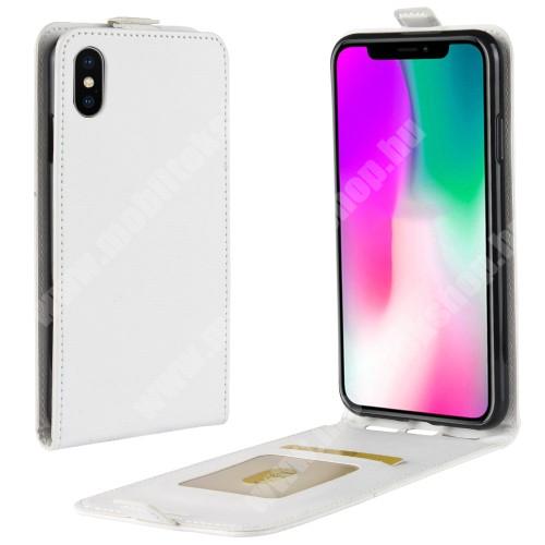 SLIM FLIP tok - FEHÉR - lefelé nyíló, rejtett mágneses záródás, szilikon belső, bankkártya tartó, előlapi hangszóró nyílás - APPLE iPhone Xr