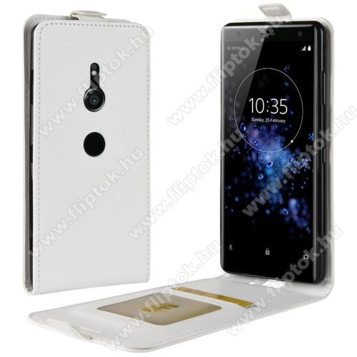 SLIM FLIP tok - FEHÉR - lefelé nyíló, rejtett mágneses záródás, szilikon belső, bankkártya tartó, előlapi hangszóró nyílás - Sony Xperia XZ3