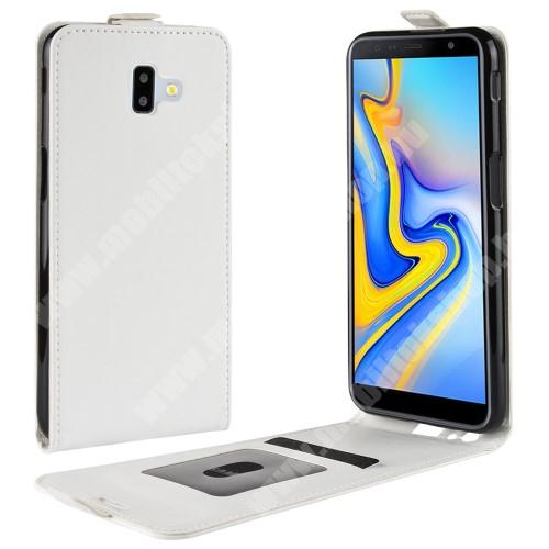 SLIM FLIP tok - FEHÉR - lefelé nyíló, rejtett mágneses záródás, szilikon belső, bankkártya tartó, előlapi hangszóró nyílás - SAMSUNG SM-J610F Galaxy J6+