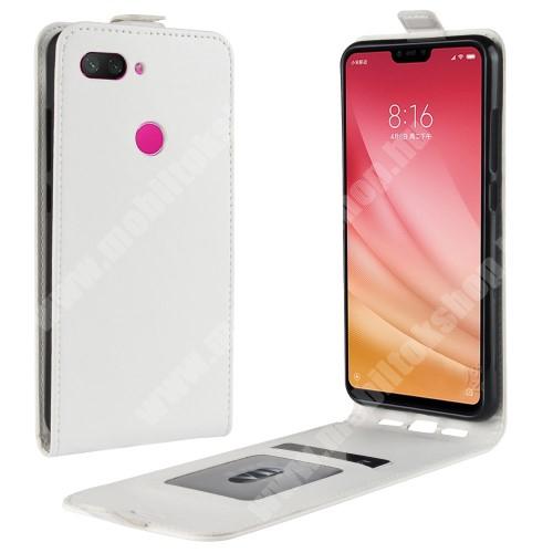 SLIM FLIP tok - FEHÉR - lefelé nyíló, rejtett mágneses záródás, szilikon belső, bankkártya tartó, előlapi hangszóró nyílás - Xiaomi Mi 8 Lite / Xiaomi Mi 8 Youth (Mi 8X)