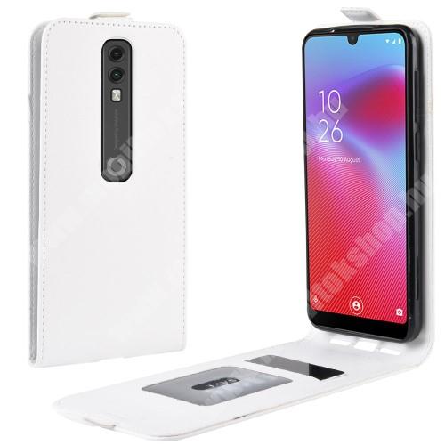 SLIM FLIP tok - FEHÉR - lefelé nyíló, rejtett mágneses záródás, szilikon belső, bankkártya tartó, előlapi hangszóró nyílás - Vodafone Smart V10